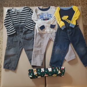 Boys Sz 2T-3T Toddler Lot Outfits Pants Shirts